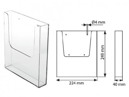 Portabrochure in Plexiglass da Parete