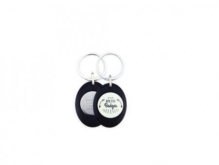 Portachiave Ovale Ø 25 mm con Gettone per Carrello